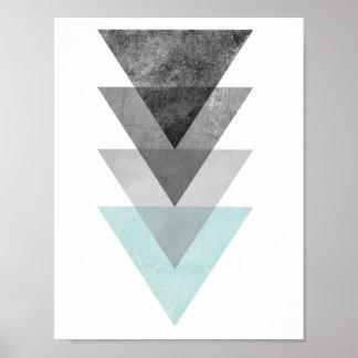 Teal and Gray Triangle Geometric Print