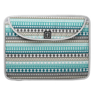 Teal and Gray Tribal Aztec Pattern Sleeve For MacBook Pro