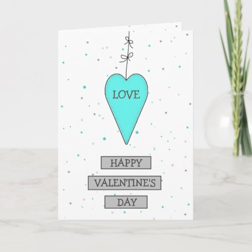 Teal and Gray Whimsical Heart and Bows Valentines Card