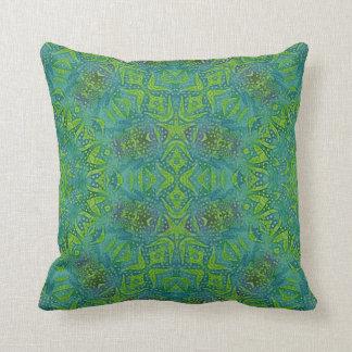 teal and green batik kaleidoscope design throw pillow