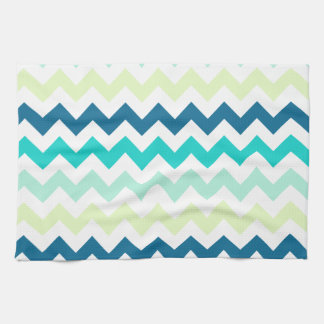 Teal and Green Chevron Kitchen Towel