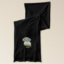 Teal and Green  Floral Hooty Owls Scarf