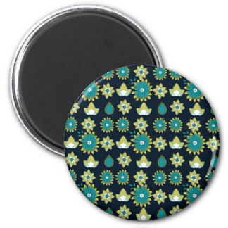 Teal and Green Flower Pattern Magnet