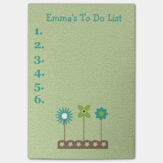 Teal and Green Flowers Personalized To Do List Post-it® Notes