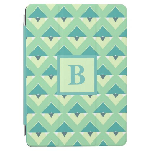 Teal and Green Geometric Pattern Monogram iPad Air Cover