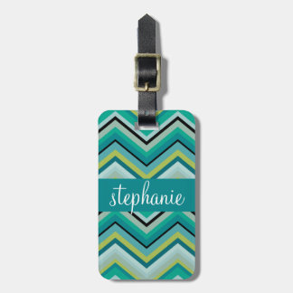 Teal and Green Huge Chevron Pattern Custom Name Luggage Tag