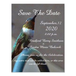 "Teal and Green Hummingbird 4.25"" X 5.5"" Invitation Card"