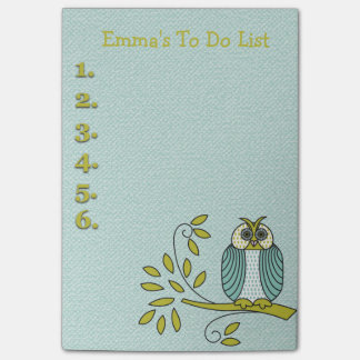 Teal and Green Owl Personalized To Do List Post-it® Notes