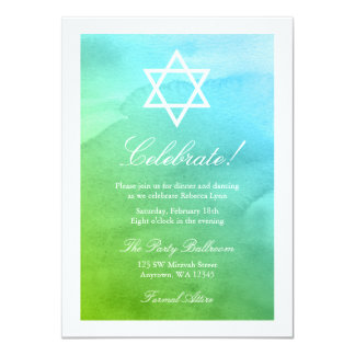 Teal and Green Watercolor Bat Mitzvah Reception Card