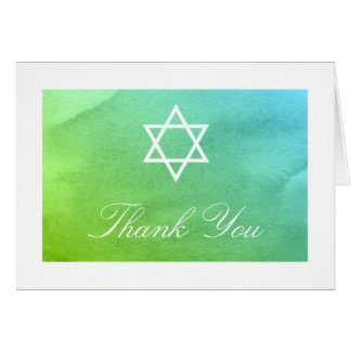 Teal and Green Watercolor Bat Mitzvah Thank You Card