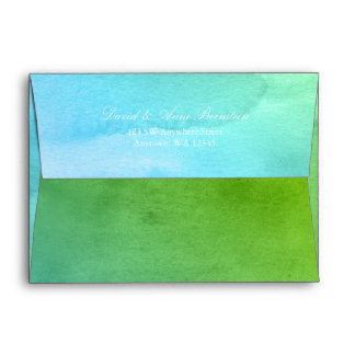 Teal and Green Watercolor Return Address A7 Envelope