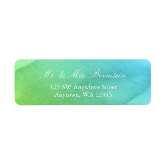 Teal and Green Watercolor Return Address Label