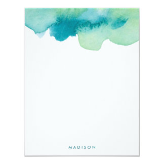 Teal and Green Watercolors Thank You Notes Card