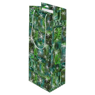 Teal and Green with Snowflakes Holiday Wine Bag