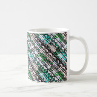 Teal and Grey Aztec Zigzag Print Coffee Cup Classic White Coffee Mug