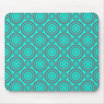 Teal and Grey Geometric Pattern Kaleidoscope Art Mouse Pad
