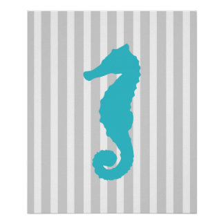 Teal and Grey Striped Nautical Seahorse Poster