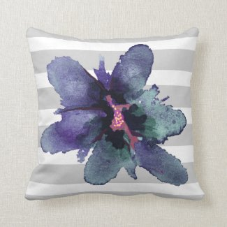 Teal and Grey Striped Watercolor Floral Pillow