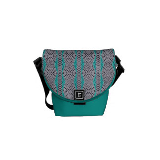 Teal and Grey Weave Textured Stripe Design Courier Bag