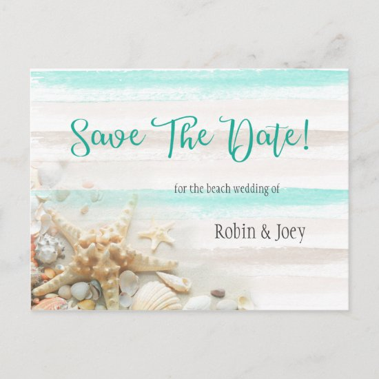 Teal and Ivory Stripes Seashells Save The Date Announcement Postcard