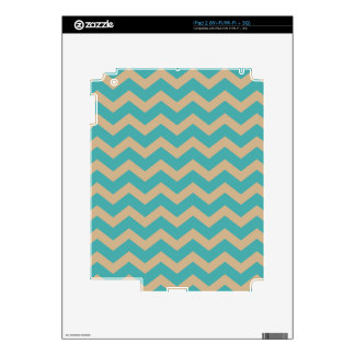 Teal and Khaki Chevrons iPad 2 Decal