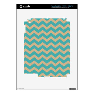 Teal and Khaki Chevrons iPad 3 Skins