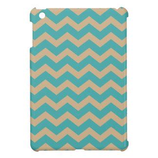 Teal and Khaki Chevrons iPad Mini Cases