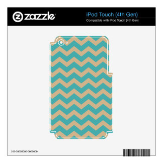 Teal and Khaki Chevrons Skins For iPod Touch 4G