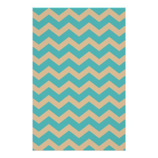 Teal and Khaki Chevrons Stationery