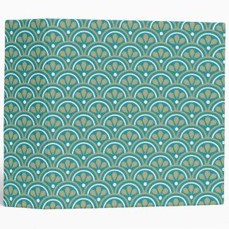 Teal And Khaki  Floral Art Deco Pattern 3 Ring Binder