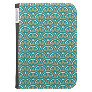 Teal And Khaki Floral Art Deco Pattern Case For Kindle