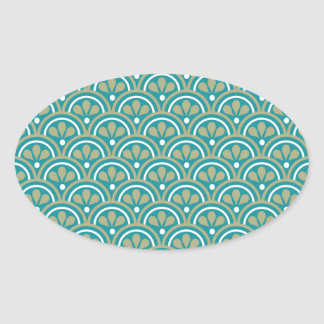 Teal And Khaki  Floral Art Deco Pattern Oval Sticker