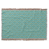 Teal And Khaki Floral Art Deco Pattern Throw Blanket