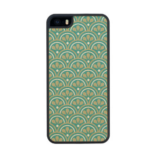 Teal And Khaki  Floral Art Deco Pattern Carved® Maple iPhone 5 Case