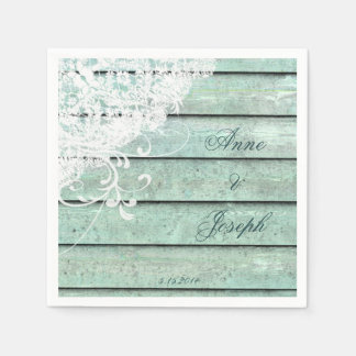 Teal and Lace Napkins Disposable Napkins