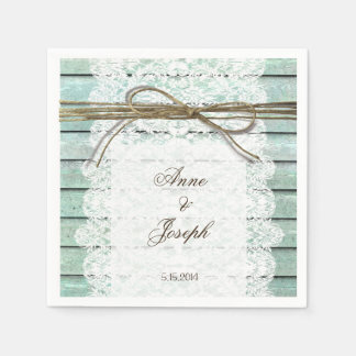 Teal and Lace Napkins Paper Napkin