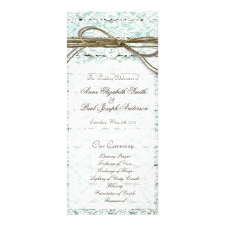 Teal and Lace wedding programs