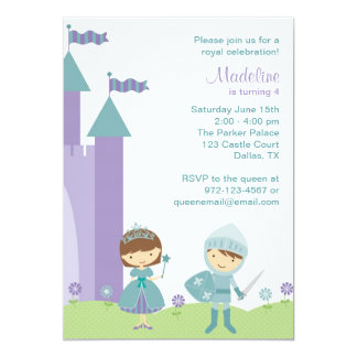 Teal and Lavender Princess and Knight Invitations