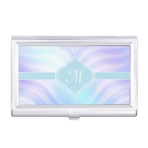 Teal and Lavender Swirls Monogram Business Card Case