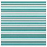 [ Thumbnail: Teal and Light Cyan Stripes/Lines Pattern Fabric ]