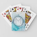 """Teal and Light Gray Watercolor Monogrammed Playing Cards<br><div class=""""desc"""">Trendy teal blue and light gray watercolor splash print background. Monogrammed.</div>"""