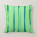 [ Thumbnail: Teal and Light Green Pattern of Stripes Pillow ]
