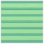 [ Thumbnail: Teal and Light Green Stripes Pattern Fabric ]