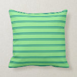 [ Thumbnail: Teal and Light Green Stripes Pattern Throw Pillow ]