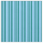 [ Thumbnail: Teal and Light Sky Blue Colored Stripes Fabric ]
