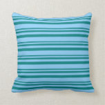 [ Thumbnail: Teal and Light Sky Blue Colored Stripes Pillow ]
