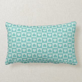 Teal and Light Teal Heart Design Lumbar Pillow