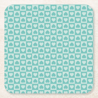 Teal and Light Teal Heart Design Square Paper Coaster