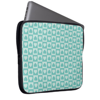 Teal and Light Teal Hearts Computer Sleeve