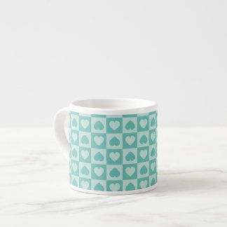 Teal and Light Teal Hearts Espresso Cup